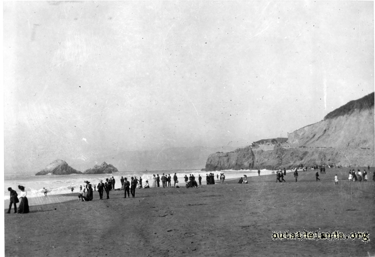 Site of burned second Cliff House from Ocean Beach