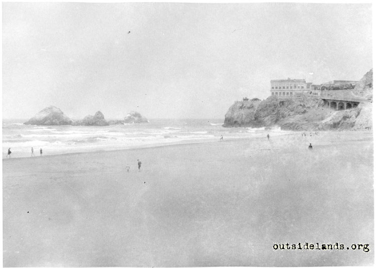Third Cliff House and Seal Rocks, viewed from Ocean Beach
