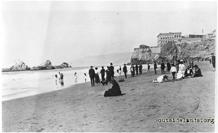 Ocean Beach. Visitors sitting on sand near Balboa St.