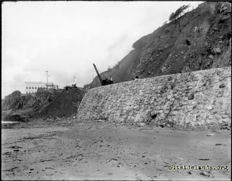 Point Lobos Ave. Construction of rock seawall