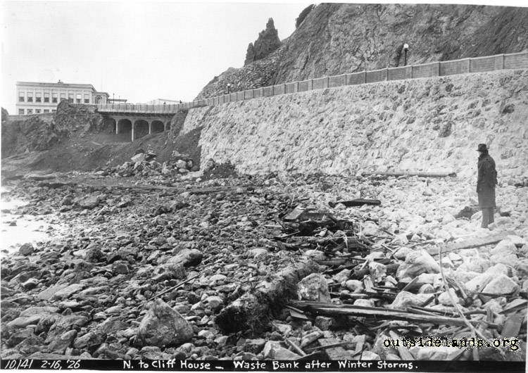 Ocean Beach. Debris near seawall