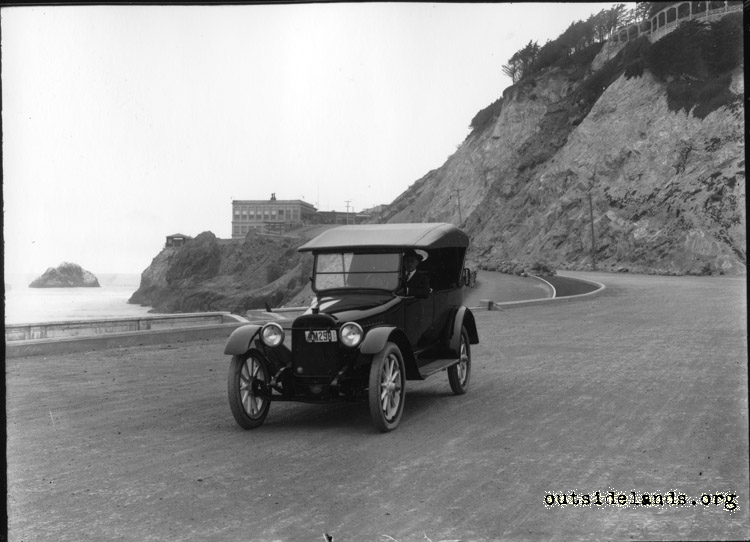 Great Highway. Auto on esplanade at foot of Balboa St.