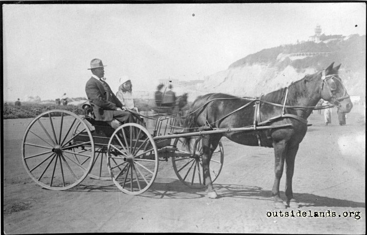 Great Highway. Man and little girl in horse drawn buggy.