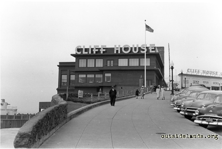 Cliff House. View looking north with moderne redwood exterior
