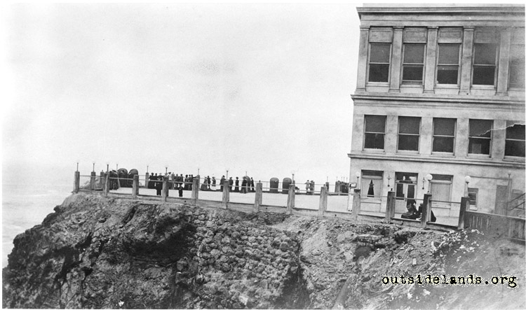 Third Cliff House. Visitors on terrace on west side