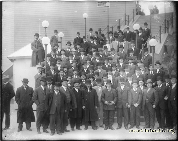 Third Cliff House. Large group of men posing on outdoor staircase