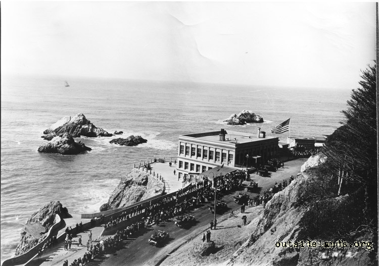 Third Cliff House from Sutro Heights. President Taft's visit