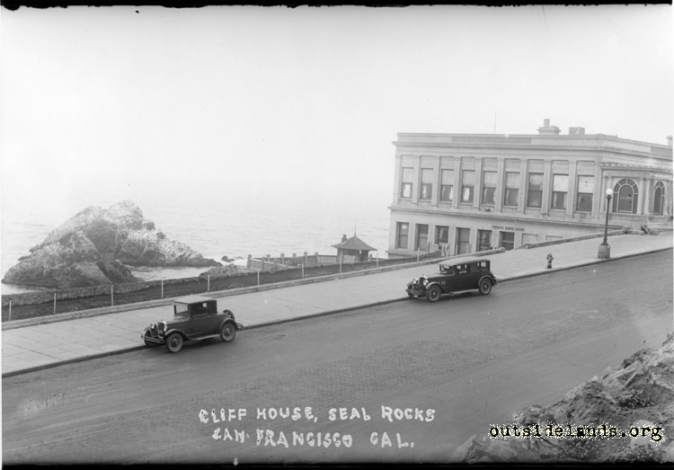 Third Cliff House from slope below Sutro Heights