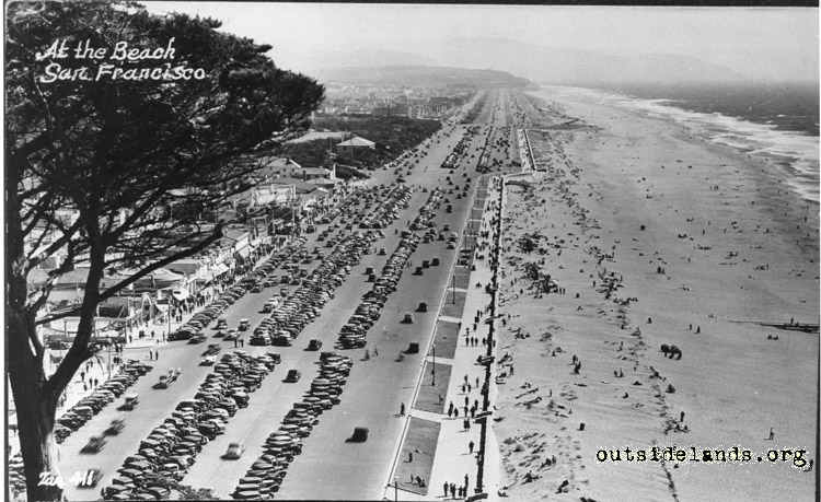 Great Highway and Ocean Beach viewed from Sutro Heights, circa 1940.