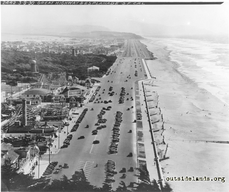 Great Highway and Ocean Beach viewed from Sutro Heights