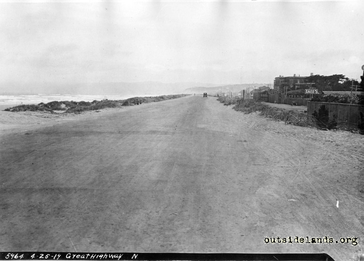 Great Highway, looking north from near Taraval St. before improvements