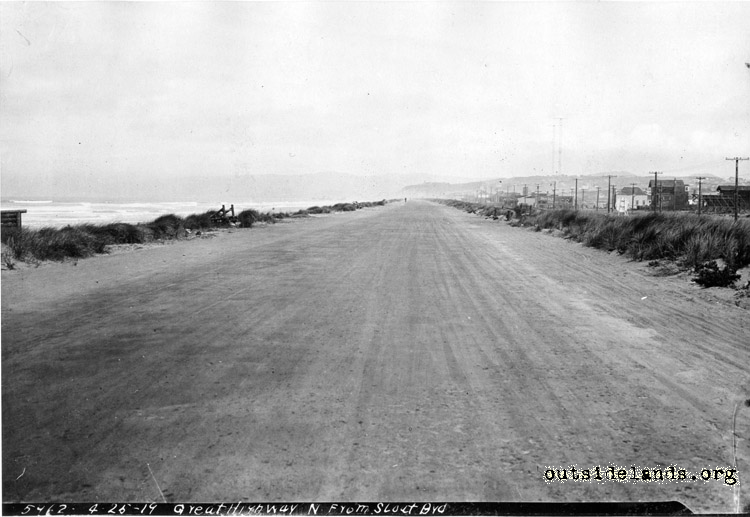 Great Highway, looking north from Sloat Blvd. before improvements