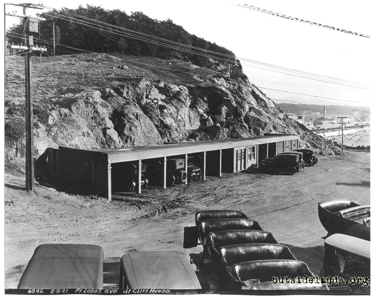 Cliff House. Auto sheds on Point Lobos Ave