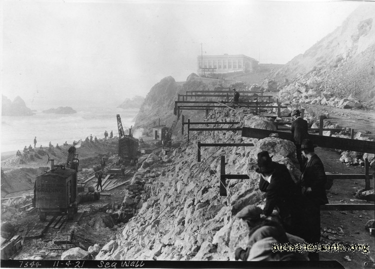 Point Lobos Ave looking northwest towards Cliff House, showing construction on seawall