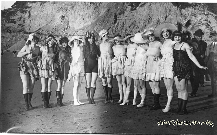 Ocean Beach. Group of bathing beauties