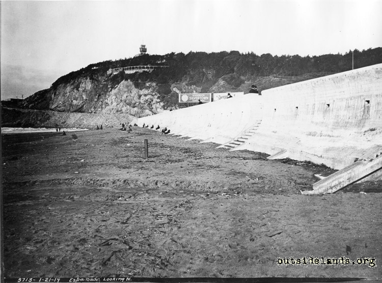 Ocean Beach. View north along seawall towards Sutro Heights