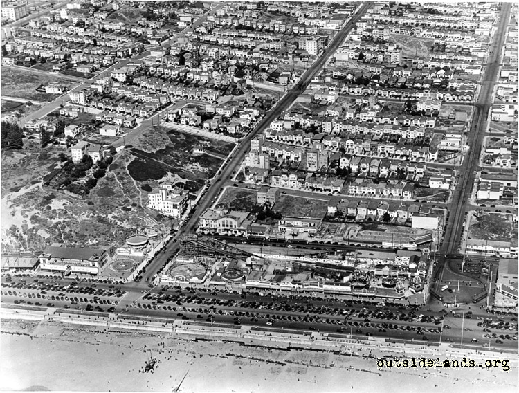 Playland at the Beach. Aerial view looking east
