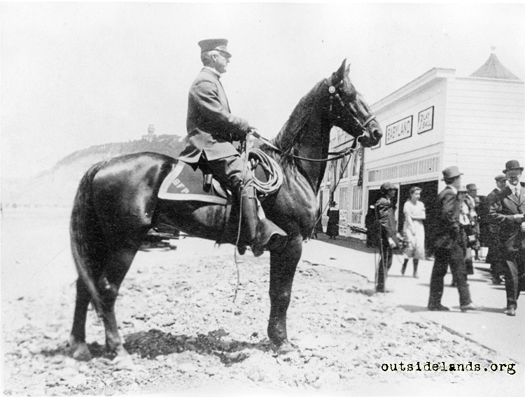 Mounted policeman near Babyland attraction