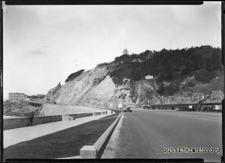 Great Highway. View north towards Third Cliff House and Sutro Heights