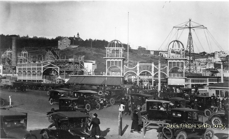 Playland at the Beach. Traffic on Great Highway in front of Chutes.