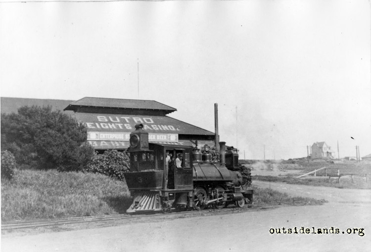 Ferries & Cliff House Railroad. Engine at 48th Ave terminal