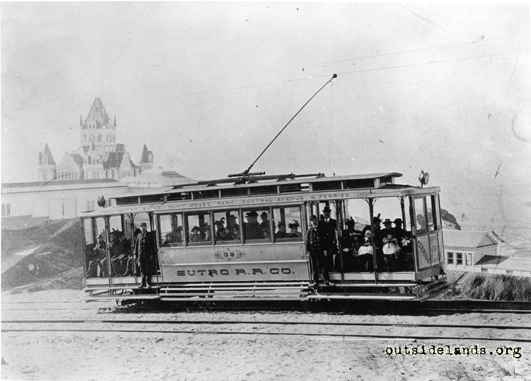 Sutro Railroad. Streetcar approaching Cliff House
