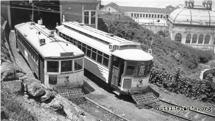 Sutro Baths. MUNI Streetcars outside car entrance