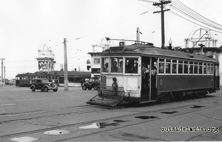 #5 MUNI streetcar on La Playa crossing Cabrillo Street.