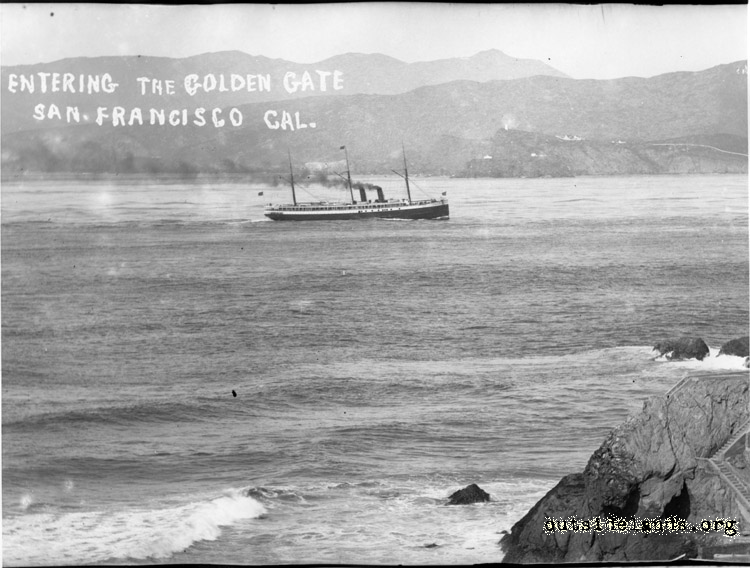 Steamship entering the Golden Gate with Point Bonita in the background