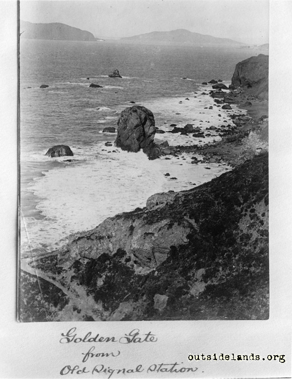 Lands End. View west towards Golden Gate. Helmet Rock in foreground