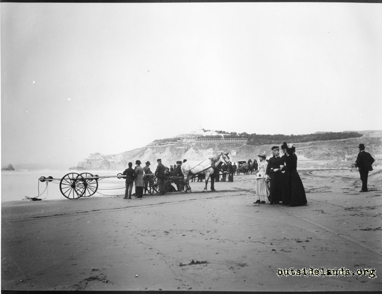 Ocean Beach. Horse drawn Life Boat cart without lifeboat