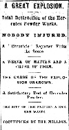 Headlines on Powder Works Explosion, 1872