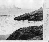 First Cliff House. Steamer passing Seal Rocks
